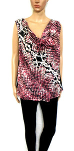 DKNY draping tunic top, black/dusty pink front, sz.14/L NWOT