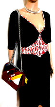 Load image into Gallery viewer, Leona Edmiston dress, swing jersey, black & red, sz. 10/1 NWOT
