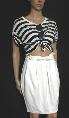 Sheike Mirror Image white skirt, pleats, sz. 12, ***NWT, very chic style