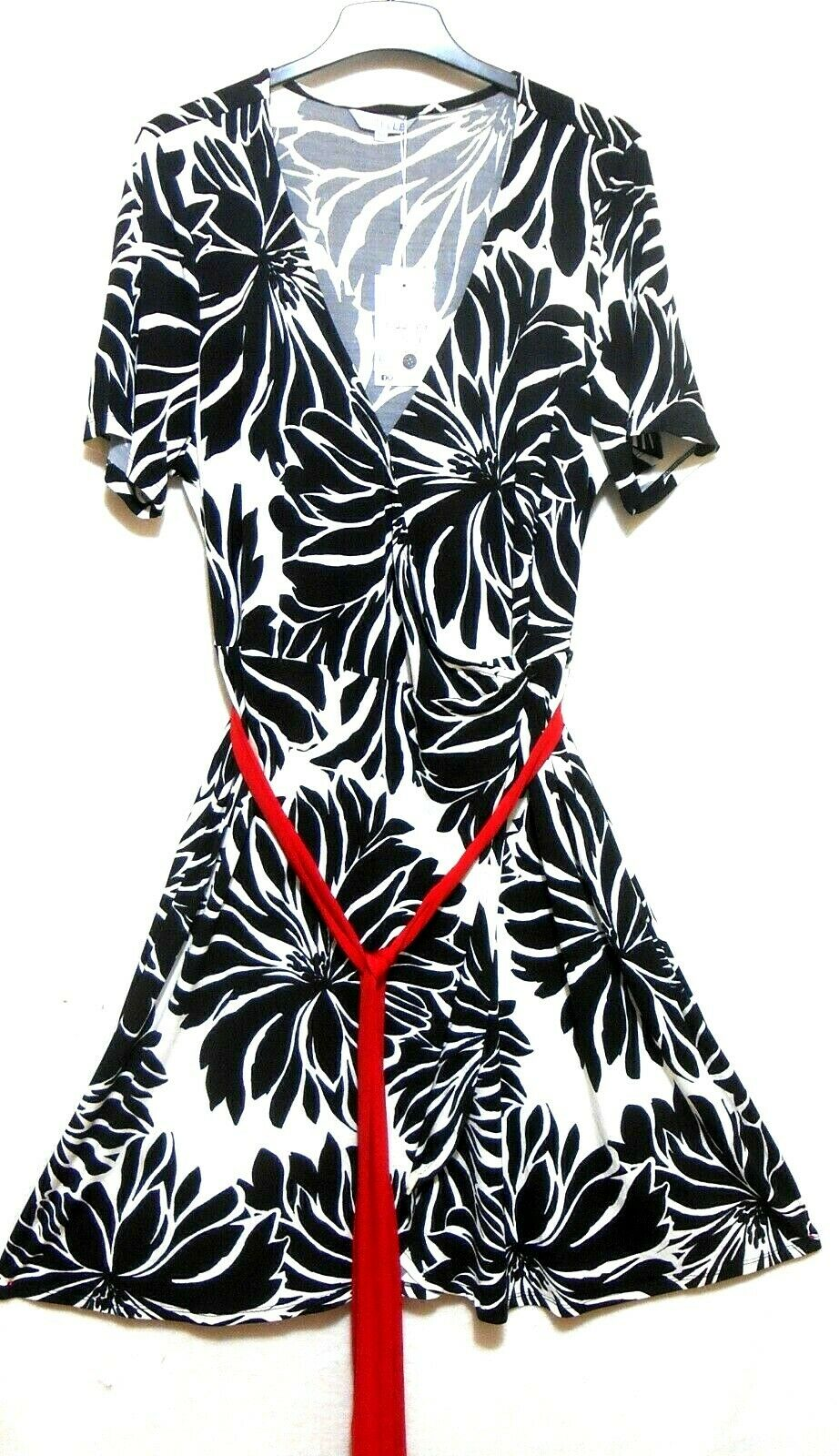 Estelle jersey dress, black & white floral, sz. 18, ***NWT