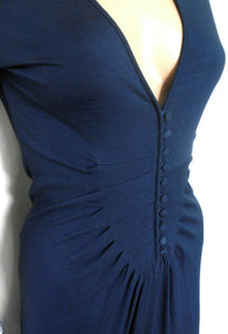 Witchery midi dress, dark blue, draping style, sz. 10, near new - for all season