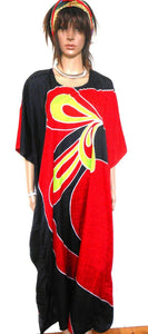 "Kaftan, "" Burning Desire"", spectacular and showy, one size, NWOT, black & red"