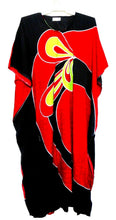 "Load image into Gallery viewer, Kaftan, "" Burning Desire"", spectacular and showy, one size, NWOT, black & red"