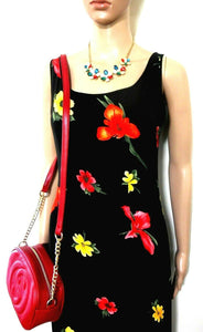 Missoni, ankle length fluid floral dress, sz. 10/S, black, Made in Italy, exc. cnd.