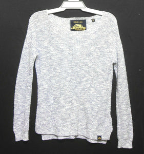 Superdry The Icarus knit, soft grey cotton sweater, sz. 10-12/XS, NWOT