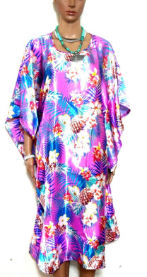 Silk kaftan dress  vivid pink tropical pattern - One size, NWOT