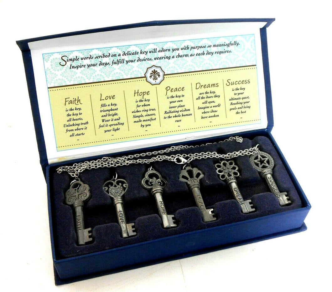 Treasured Keys to Life, boxed set, 6 chain necklaces, new
