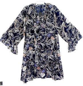 Nasty Gal, Ruffle collar oversized floral print dress dark blue, sz. 16  ***NWT