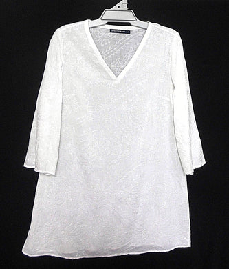 Sportscraft, long line sequined white tunic top, day & night wear, sz. 12-14, as new