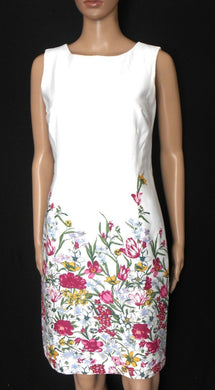 Review white floral dress, cool and fresh, sz. 8  exc. cnd.