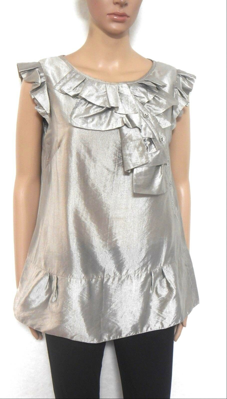 Cue metallic silvery grey tunic top, sz. 10 - with wide front frill, exc. cnd.