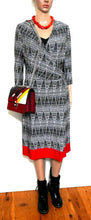 Load image into Gallery viewer, David Lawrence  jersey dress with long ties, sz, 12/M black/white /cherry red, exc. cnd.