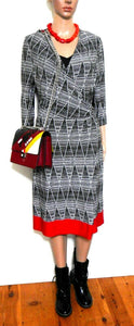 David Lawrence  jersey dress with long ties, sz, 12/M black/white /cherry red, exc. cnd.