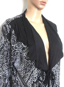 Taking Shape tunic shrug style  with ties, black and white, sz. S - L, as new