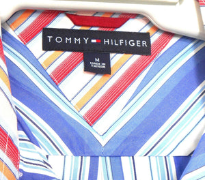 Tommy Hilfiger blue striped shirt, short sleeves, as new - sz. M - L