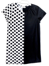 Load image into Gallery viewer, Max Studio edgy tunic dress, large polka dot/leatherette, black & white sz. 10