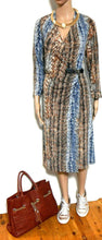 Load image into Gallery viewer, Diana Ferrari dress, as new, sz. 16, mock wrap style, blues/tans, as new