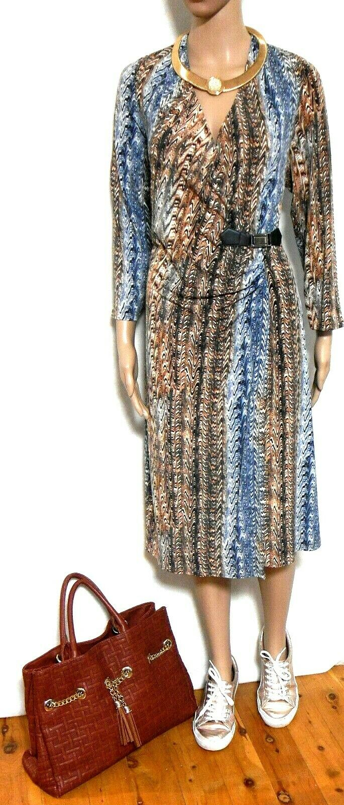 Diana Ferrari dress, as new, sz. 16, mock wrap style, blues/tans, as new