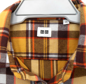 Uniqlo shirt, yellow.brown plaid flannel, NWOT, sz. L