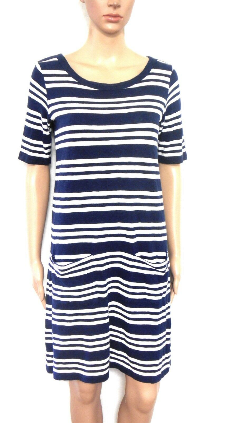 Marcs nautical striped cotton dress, dark blue/white, sz. 10 - with pockets, exc. cnd.