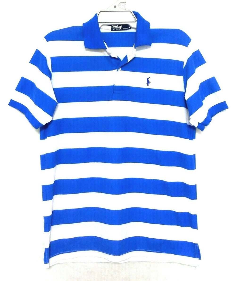 Ralph Lauren polo tee shirt royal blue/white striped, sz. M, near new