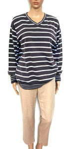 Tommy Hilfiger striped V neck, slouchy sweater, dark grey/aqua, sz. 14/M, exc. cond.