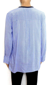 Zara spunky tunic top, crested, as new, sz.12/M - dark blue/sky blue striped