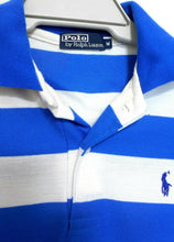 Load image into Gallery viewer, Ralph Lauren polo tee shirt royal blue/white striped, sz. M, near new