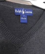 Load image into Gallery viewer, Ralph Lauren charcoal wool V neck sweater, sz.14/L, for all seasons, very good cnd.