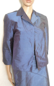 George 2 pc. raw silk skirt suit, dark blue, sz. 12 & 14, ***NWT