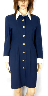 Sandra Soulos fine wool shirt dress, sz. 12, midnight blue, near new