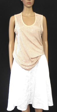 Witchery tunic top, beige, with studded front, long line, sz. 10-12  NWOT
