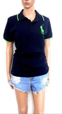 Ralph Lauren polo top, midnight blue/apple green trim, sz. 14/XL   NWOT