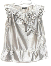 Load image into Gallery viewer, Cue metallic silvery grey tunic top, sz. 10 - with wide front frill, exc. cnd.