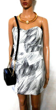 "Load image into Gallery viewer, Sass & Bide  ""Big Scribble "" dress,  white & grey, sz. 6-8/4US, exc. cnd."