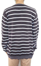 Load image into Gallery viewer, Tommy Hilfiger striped V neck, slouchy sweater, dark grey/aqua, sz. 14/M, exc. cond.