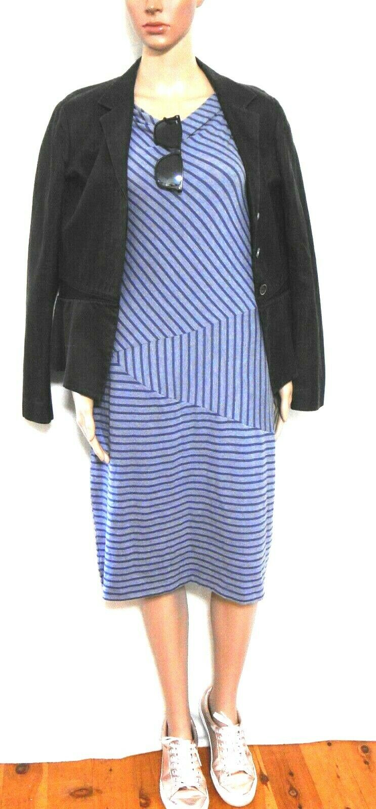 Mesop stretch dress, dark blue striped, sz. 14 - near new, for all seasons