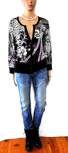 White House / Black Market showy cardigan with diamontes, black & purple, sz. 16, exc. cnd.