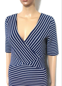 David Lawrence super figure shaping striped stretch dress, sz. 12/M Exellent cond