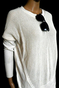 Country Road sweater, ivory cotton, chunky crochet front, sz. 10-12, near new