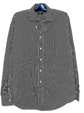 Ralph Lauren striped dress shirt , black & white  cotton sz. L, near new