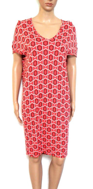 Country Road stretch tunic dress, coral - geometric, sz. 10/XS, exc. cnd.