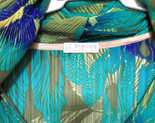 Load image into Gallery viewer, Le Paradis hood kaftan avocado/greens, one size, exc. cnd.
