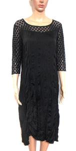 Saba  black dress, dramatic lace shoulders & sleeves, sz. 12, day & night wear, exc. cnd.