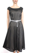 Load image into Gallery viewer, DKNY - fabulous festive dress, back regency stripe, sz. 10, with silver belt, exc. cnd.