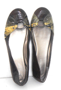 Nine West faux leather ballet flat shoes, snake pattern, sz. 10 brown tones, exc. cnd.