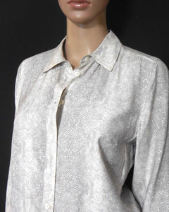Sportscraft  silk blend shirt, beige python pattern, sz. 8-12, for all seasons