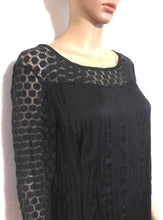Load image into Gallery viewer, Saba  black dress, dramatic lace shoulders & sleeves, sz. 12, day & night wear, exc. cnd.