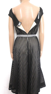 DKNY - fabulous festive dress, back regency stripe, sz. 10, with silver belt, exc. cnd.