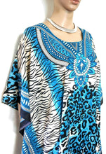 Load image into Gallery viewer, Kaftan, tribal from Iban longhouses, Sarawak (Borneo), teal/black NEW, one sz.